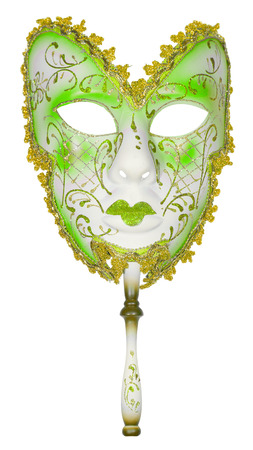 masquerade costumes: Carnival mask green Christmas New year Venetian white background isolated object