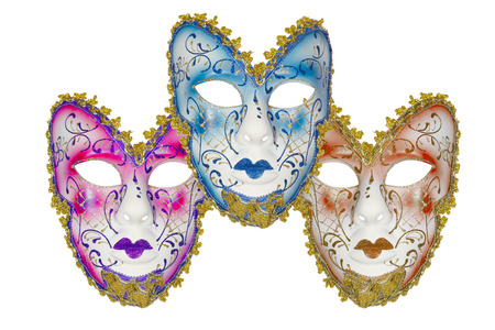 biege: Carnival mask set blue pink biege Christmas New year Venetian white background isolated object