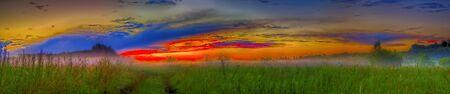 Sunset field road panorama photo