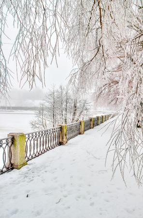 vyborg: Central promenade city Vyborg Russia  winter