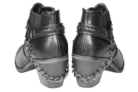cossacks: Womens shoes stylized Cossacks of the black isolated white background Stock Photo