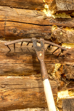 log basket: Rake the old log walls  close-up