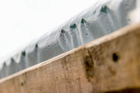 nailed: Edge of the greenhouse cellophane nailed Board misted droplets close-up