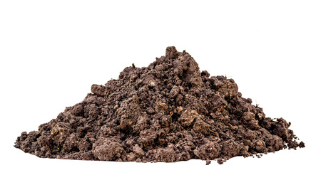 Pile of soil isolated white background Stock Photo