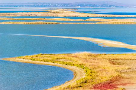 tuzla: Tuzla spit top view of coast of Crimea Russias Taman Peninsula