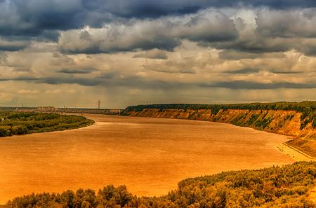 Bending Irtysh river railway bridge centre Tobolsk Russia panorama top view hdr dichromatic filter