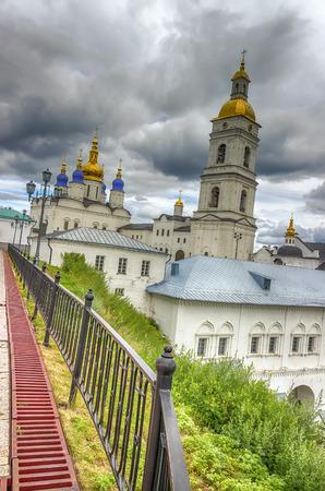 menacing: Tobolsk Kremlin and belfry Sophia-Assumption Cathedral panorama menacing sky hdr Russia Siberia Asia Stock Photo