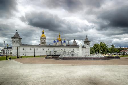 menacing: Tobolsk Kremlin view  Gostiny Dvor menacing sky  Russia Siberia Asia hdr Stock Photo