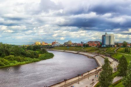 siberia: Tyumen top view river Russia Asia Siberia waterfront panorama