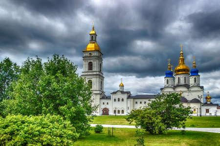 menacing: Tobolsk Kremlin courtyard Sophia-Assumption Cathedral panorama menacing sky hdr Russia Siberia Asia