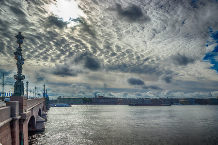 neva: Troitsky bridge across  Neva river left bank in St. Petersburg Russia panorama  cloudy sky