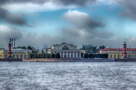 to spit: View  centre St. Petersburg  Neva river spit Vasilievsky island Rostral columns exchange building Russia