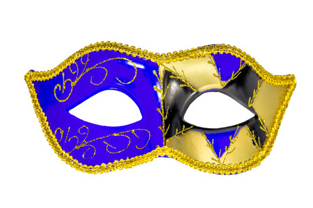Venetian Carnival Mask blue yellow black patterned asymmetrical coloring frontal picture isolated white background Stock Photo