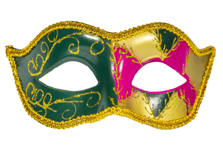 venician: Venetian Carnival Mask green yellow pink  patterned asymmetrical coloring frontal picture isolated white background Stock Photo