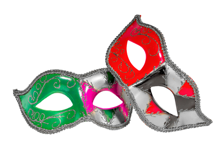 asymmetry: Two Venetian carnival half-mask silver red green black pink asymmetry pattern isolated white background