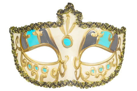 inserts: Carnival mask gold-painted curlicues decoration azure gray inserts half mask isolated white background full face Stock Photo