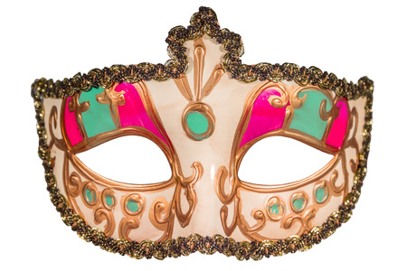 full face: Carnival mask gold-painted curlicues decoration pink green inserts half mask isolated white background full face Stock Photo