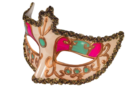 inserts: Carnival mask gold-painted curlicues decoration pink green inserts half mask isolated white background side view