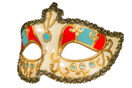 inserts: Carnival mask gold-painted curlicues decoration blue and red inserts half mask isolated white background side view
