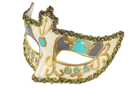 curlicues: Carnival mask gold-painted curlicues decoration azure gray inserts half mask isolated white background side view Stock Photo