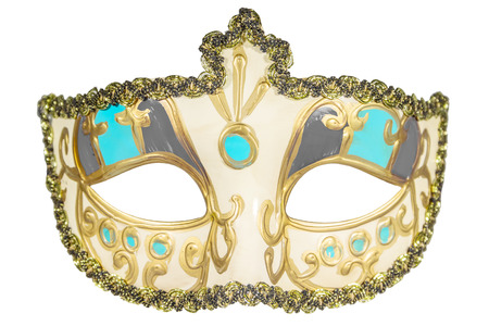curlicues: Carnival mask gold-painted curlicues decoration azure gray inserts half mask isolated white background full face Stock Photo
