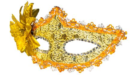 venician: Golden carnival mask isolated on white background fabric bow side view