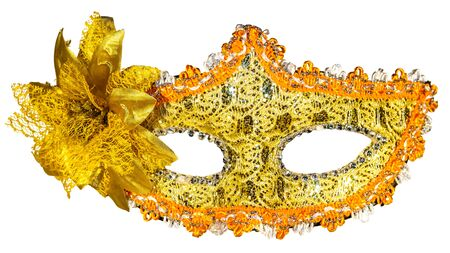 venician: Golden carnival mask isolated on white background fabric bow front view Stock Photo