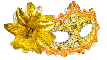 Golden carnival mask isolated on white background fabric bow side view