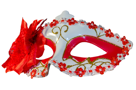 carnival border: Red carnival mask bow decoration flowers border isolated white background side down view