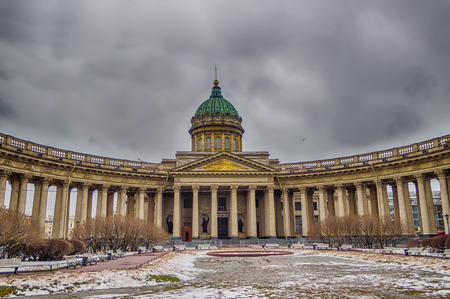 kazanskiy: Kazan Cathedral cloudy winter St. Petersburg Russia Stock Photo