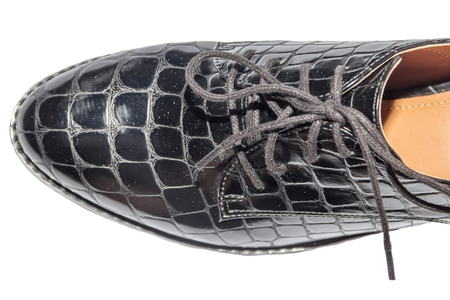 heelpiece: Lacquered crocodile skin shoes with laces middle-heeled close up isolated white background