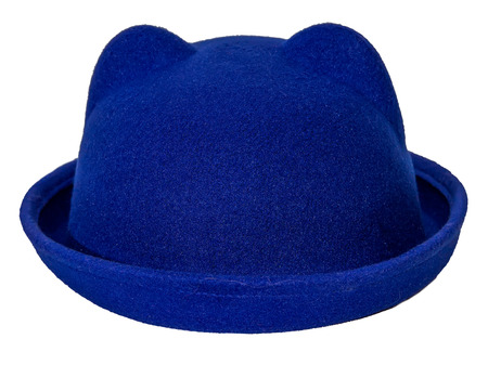 bowler: Hat bowler with ears  blue  isolated white background