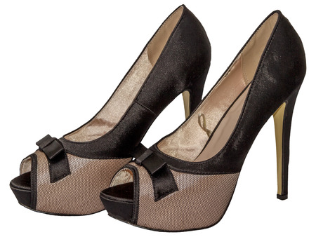 heel strap: Shoes womens open toe mesh bow high heel beige black isolated white background