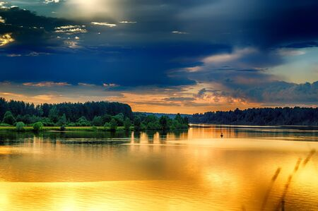 Bend  River Volga Russian heavy crimson evening sunset view from above Stock Photo