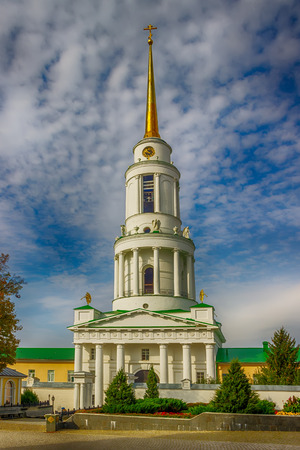 Gate bell tower with St. Nicholas Church and Archbishops chambers Zadonsk Lipetsk oblast Russia Stock Photo