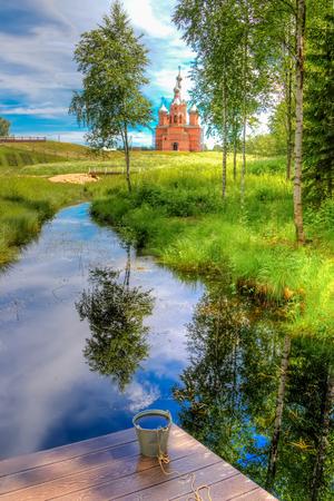 Volgoverkhovye Olginsky 수도원 교회 Transfiguration in Russia Tver 지역 소스 볼가 스톡 콘텐츠