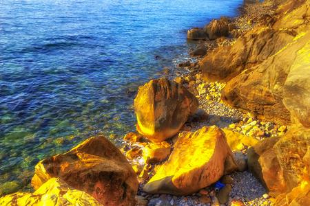 Rocky coast  sea coast Sochi Krasnodar region Russia transparent water