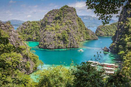 palawan: Coron Lagoon in Palawan Philippines Stock Photo