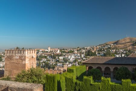 View of Alhambra palace and Granada town Editorial
