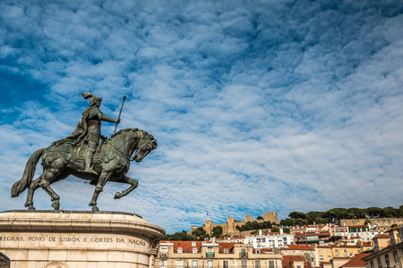 scepter: King John on Horse statue in Lisbon Portugal Editorial