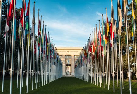 United nations building in Geneva Switzerland 에디토리얼
