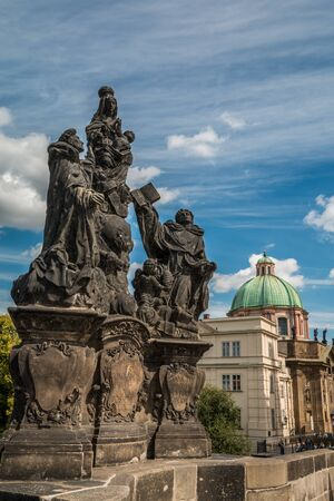 charles bridge: Statues in Charles Bridge Prague Stock Photo