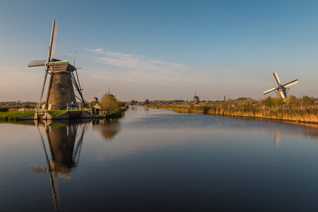 netherlands: Kinderdijk Windmills near Rotterdam Netherlands Stock Photo