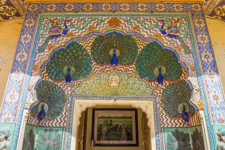 Peacock door in Jaipur Palace Stock Photo