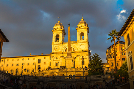 Sunset in Spanish steps in Rome