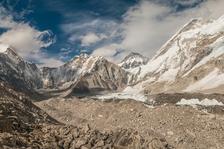 landforms: View of Khumbu valley and Mount Everest base camp Stock Photo