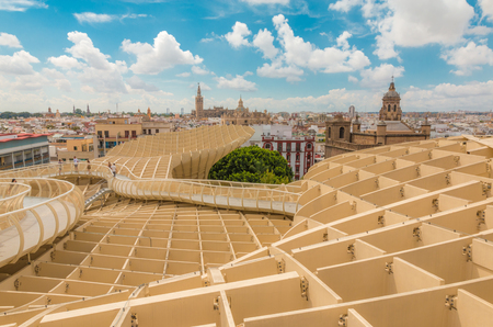 Nice view of Seville from Metropol Parasol Stock Photo