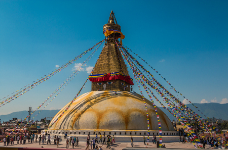 Boudhanath stupa temple in Kathmandu Nepal Stock Photo
