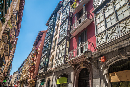 Old streets in Bilbao Basque country Spain