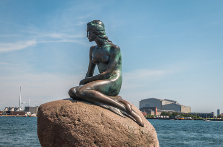 The Little Mermaid statue in Copenhagen Denmark